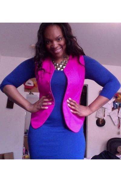 cotton dress H&M dress - thrifted vintage vest - Forever 21 necklace