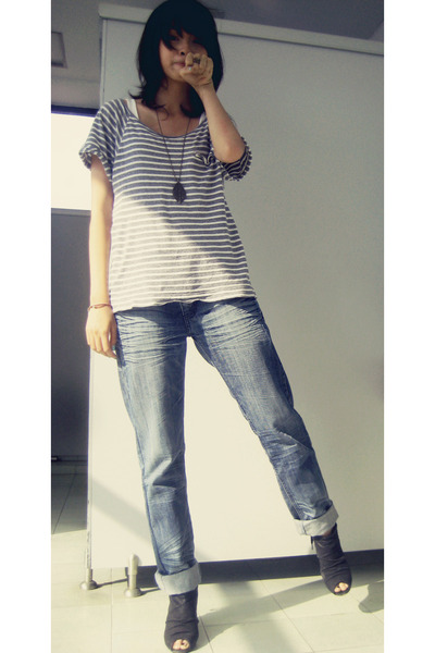 Sky Blue Baggy Unbranded Jeans Heather Gray Striped Mango ...