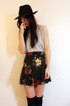 vintage skirt - thrifted vest - vintage hat