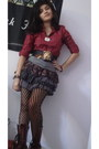 Dr-martens-boots-wet-seal-tights-guess-top-ruffles-foreign-exchange-skirt
