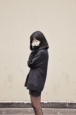 navy Stradivarius sweater - black Zara shorts - dark gray Daisho stockings