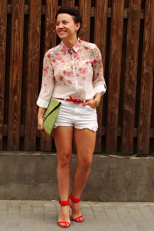 red flower PERSUNMALL shirt - lime green asos bag - white H&M shorts