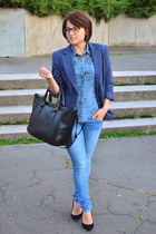 navy Atmosphere blazer - blue H&M jeans - blue denim shirt H&M shirt