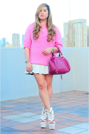 hot pink leather bag Louis Vuitton bag - bubble gum knit wear Zara jumper