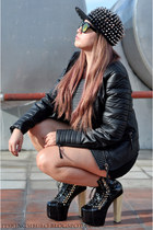 black studded DAS boots - black leather biker Mango jacket