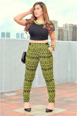 black studded bag Zara purse - chartreuse neon prints Topshop pants