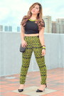 Black-studded-bag-zara-purse-chartreuse-neon-prints-topshop-pants