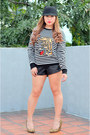Ivory-knitted-zara-sweater-black-faux-leather-zara-shorts