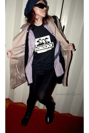 black clockhouse leggings - beige Zara coat - Zara shirt - black H&M cardigan -
