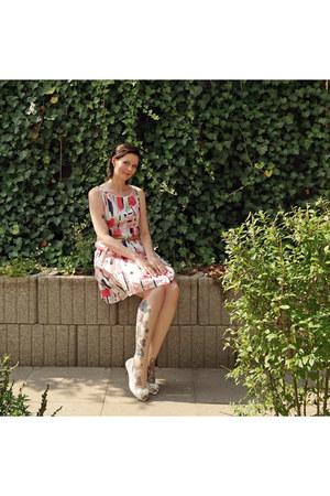 light pink Promod dress - mustard Tom Tailor belt