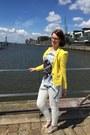 White-fake-snake-skin-justfab-jeans-yellow-cotton-zara-blazer