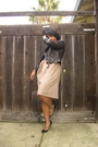 Black-target-jeans-lace-top-beige-vintage-skirt-black-steven-madden-shoes-