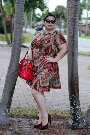 brown vintage dress vintage dress - red red bag melie bianco bag