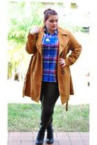 black seychelles boots - tawny Old Navy coat - black OASAP leggings