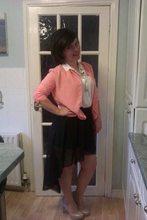 new look blouse - new look blazer - internacional skirt - Guess heels