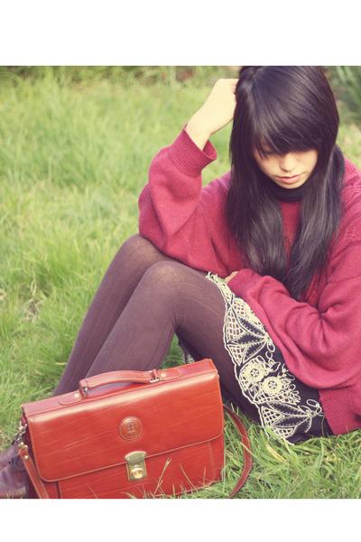 black Forever 21 skirt - brown columbine tights - black vintage accessories