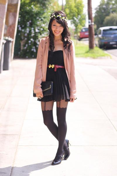 light pink bardot blazer - black bardot dress