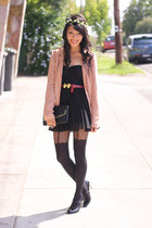 light pink bardot blazer - black bardot dress