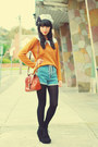 blue romwe shorts - silver KANI hat - black asos wedges - orange vintage jumper