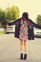 black vintage cardigan - black asos boots - hot pink supre dress