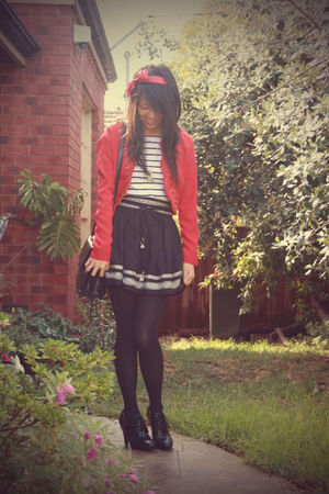 red vintage jacket - white stripey top - black Forever 21 skirt - black China sh