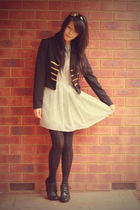 black Forever 21 blazer - black China shoes - green vintage dress
