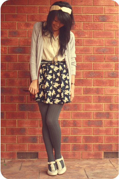 gray OVERSEAS cardigan - columbine tights - vintage shirt - Bonbons shoes - hand