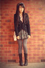 JayJays skirt - black Valleygirl blazer - vintage shirt - gray columbine tights