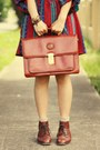 Red-vintage-dress-teal-vintage-vest-brown-vintage-bag-neutral-vintage-hat-