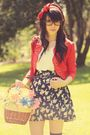 Red-vintage-jacket-blue-vintage-skirt-gray