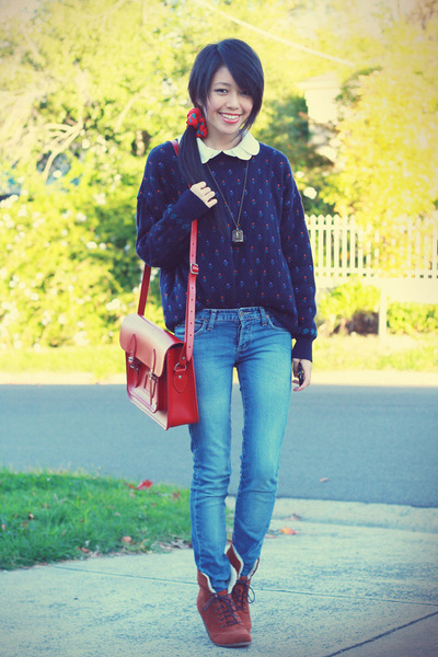 vintage jumper - Cambridge bag - asos wedges - vintage accessories