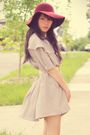 Beige-sunny-sideup-closet-dress-white-forever-new-belt-red-forever-21-hat-