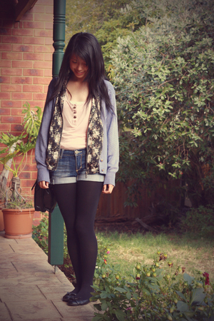 pink Dotti top - vintage jacket - blue vintage cardigan - JayJays shorts - black