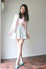 Topshop-skirt-vintage-cardigan-victorias-secret-bra-vintage-blouse