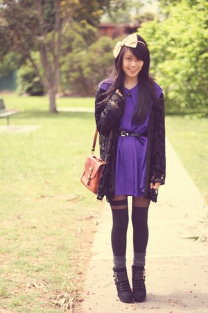 milk vintage cardigan - Nine West boots - asos tights - vintage bag