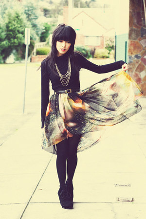 black galaxy space romwe skirt