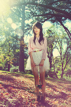 light pink vintage blouse - off white handmade skirt - brown asos wedges