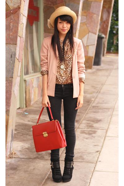 red vintage bag - black chic rewards Ninewest boots - black bardot jeans