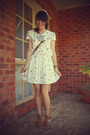 White-vintage-dress-brown-brown-novo-shoes
