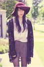 Black-vintage-cardigan-beige-china-top-brown-forever-21-shorts-brick-red-f