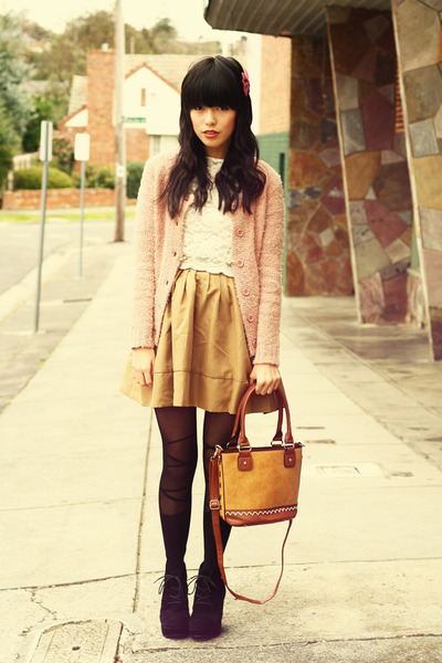 Chicwish dress - romwe tights - Chicwish bag - bardot cardigan - KANI accessorie