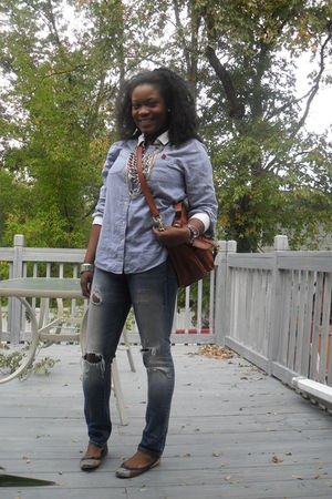 blue the gap shirt - blue American Eagle jeans - Steve Madden shoes - H&M bag