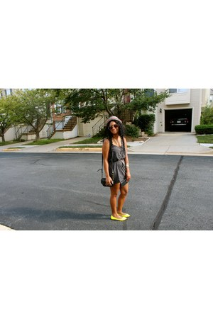 yellow neon Aldo flats - charcoal gray Urban Outfitters dress
