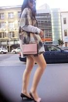black Prada shoes - tan simple cut c&a coat - light pink Prada bag