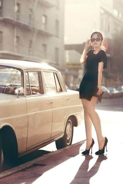 black All Saints dress - black Chanel sunglasses - black Miu Miu heels