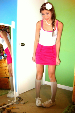 pink Forever21 skirt - silver American Eagle top - white Forever21 accessories -