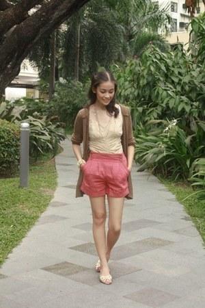 coral Topshop shorts