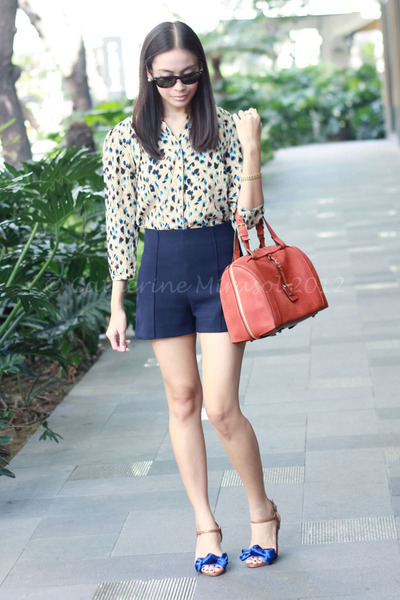 neutral Mango top - tawny Chloe bag - navy Zara shorts