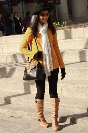 mustard Mixxo blazer - off white H&M scarf - black Zara bag