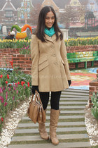 camel Tulle coat - teal Forever 21 scarf - brown Dolce and Gabbana bag
